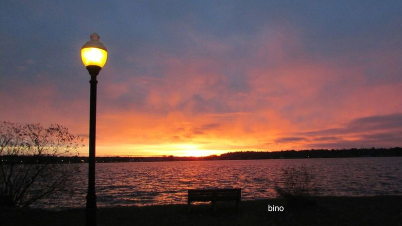 Sunrise At The Lake Very Cold Morning Beauty In Nature Lamp Post Lone Bench Beautiful Colors No People Lake Cadillac Pure Michigan