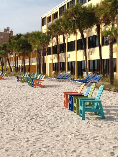 Andirondacks Color Chairs Colorful In A Row No People Outdoors Palm Trees The Beach  Treasure Island