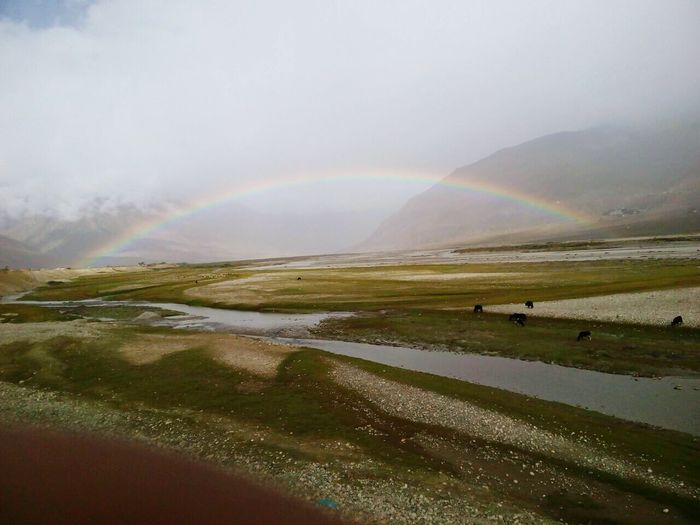 Rainbow in a beautiful valley.