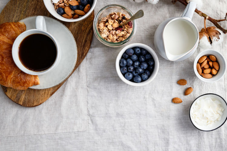 Granola Food Breakfast Bowl Blueberry Berry Porridge Table Concept Top Flat Lay Ceramics Cereal Lifestyle Meal Holding Cotton Girl Vegan Oat Almond Chia Nuts Croissant Milk Directly  Above Two Juice Dessert Espresso Vegetarian Natural Organic Snack Sweet Muesli Yogurt View Background Seed Photography