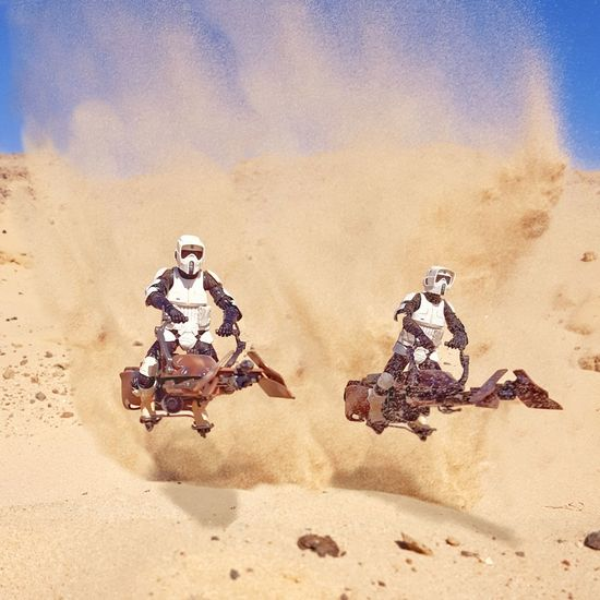 Open throttle in the desert. Star Wars Starwars Blackseries The Black SeriesScout Trooper Speederbikes Toyphotography Toptoyphotos Toysaremydrug Justanothertoygroup Toyunion Toycommunity Toycrewbuddies