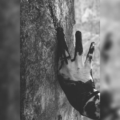 Depressed Dark Gloomy Cross Hand Black And White Day Close-up Outdoors