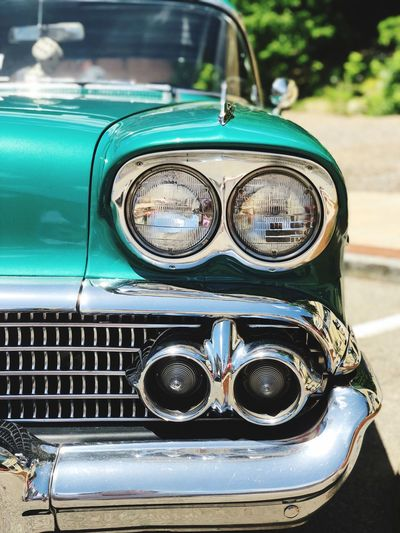 The Week on EyeEm Teal Color Close-up Car Retro Styled Focus On Foreground Motor Vehicle Day Glasses Land Vehicle Mode Of Transportation Headlight No People Metal Transportation Vintage Car Outdoors Reflection Chrome Collector's Car Antique Front View Transportation