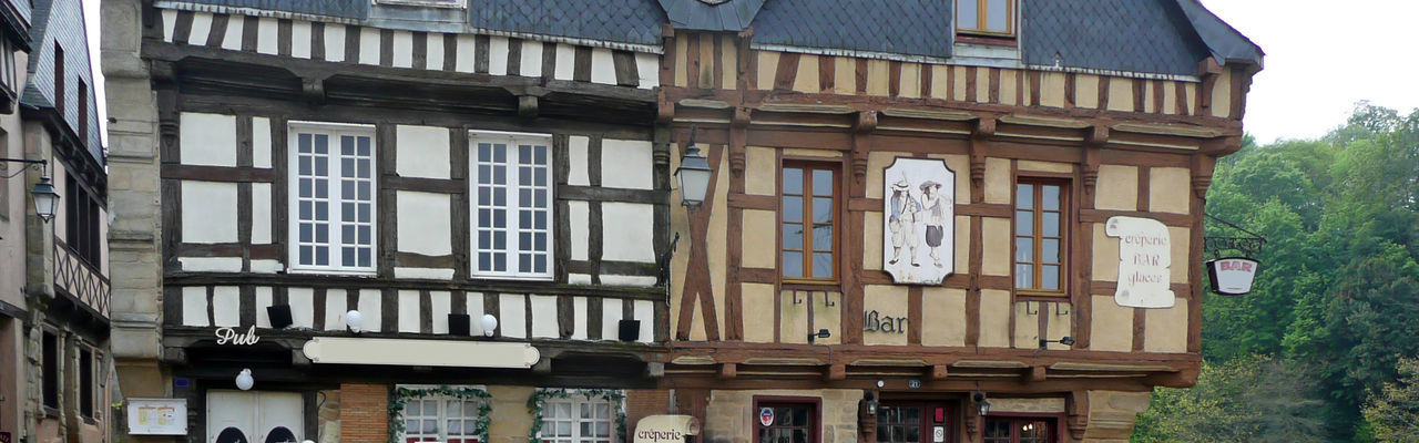Frontage Pub Bar Pancake Restaurant Wood Structure Colombage Panoramic Edited France Front City Window Residential Building Façade Architecture Building Exterior Built Structure Townhouse