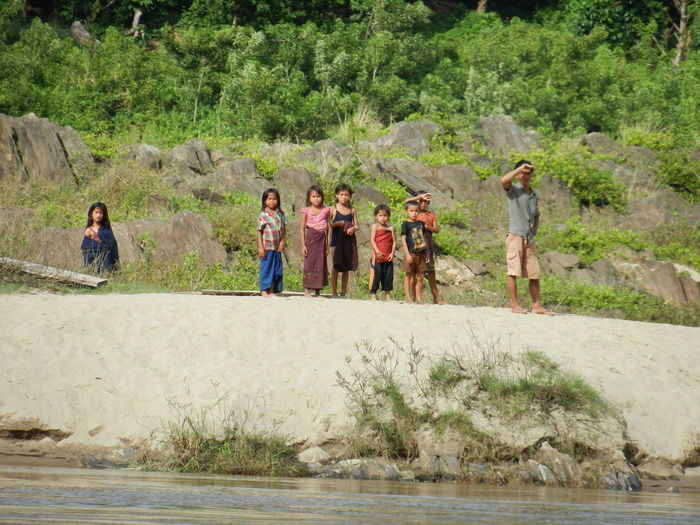 ASIA Bagpacking Trip Boattrip Day Landscape Laos Mekong River Mountain Nature Non-urban Scene Outdoors People Watching Sand Togetherness Tranquil Scene Tranquility Wilderness People And Places