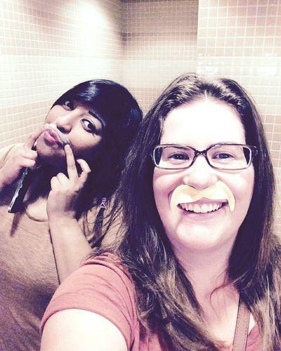 Goofs Goofballs Bestfriend Bestie  Girls Fun Night Movie Night Girls Night Out Girls Night Twinning Mustache Stickers Laughter Joking Around Fun Times Goodnight Washroomselfie Chilling
