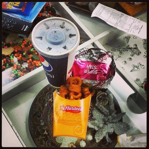The best lunch ever :$ Hardees Superstar