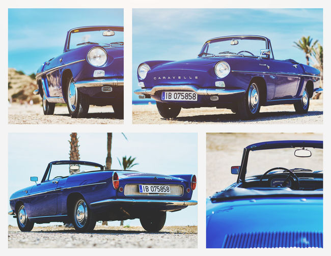 Collage of Renault Caravelle or Renault Floride car. It is a sports car which was produced by the French manufacturer Renault between 1958 and 1968 Beach Blue Cabriolet Car Car Classic Car Close-up Collage Convertible Car Day Land Vehicle Mode Of Transport No People Old-fashioned Outdoors Renault Caravelle Renault Floride Sky Transportation