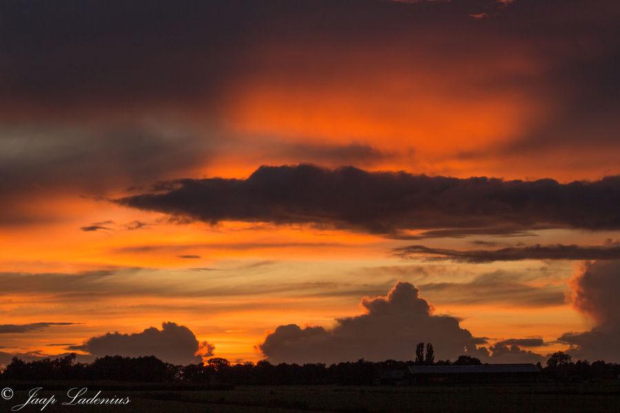 Zonsondergang Beauty In Nature Cloud - Sky Hurdegaryp Landscape Nature No People Orange Color Outdoors Sky Sunset Zonsondergang Nederland