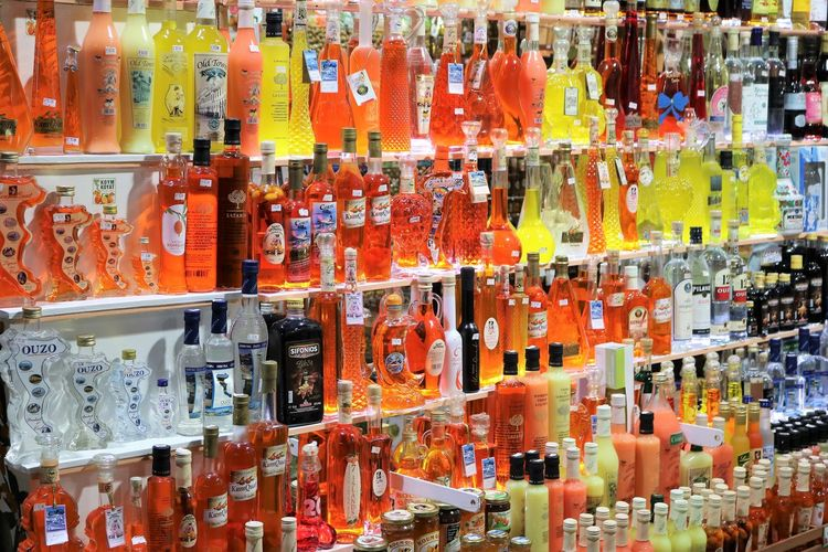 Arrangement Bottle Collection Food And Drink Glass - Material In A Row Large Group Of Objects Multi Colored No People Shopping Store Variation