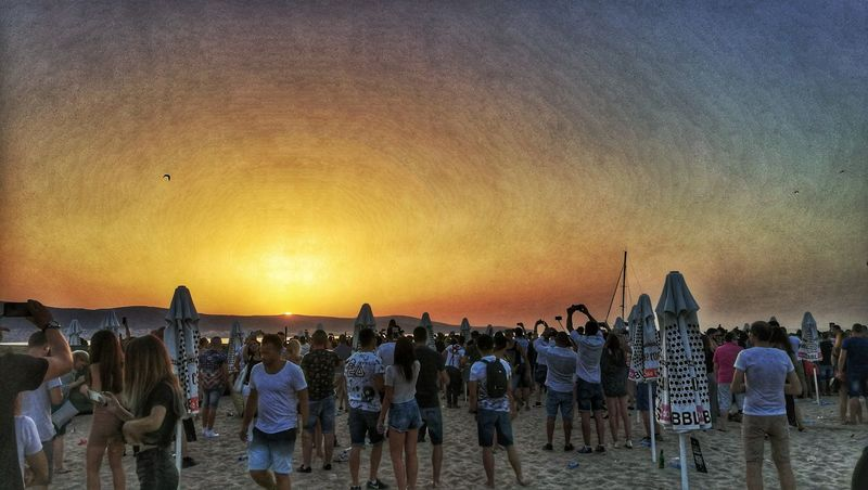 The sand is lava Sunrise July Morning Techno Party Party Dancing Dance Filters Beach Large Group Of People Sand Sky Outdoors Day Cacao Beach Sunny Beach Bulgaria