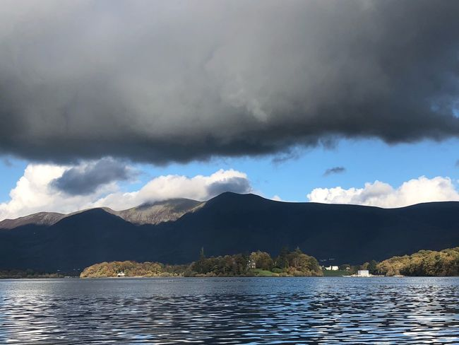 Black skiddaw Looming Black Sky Overhead Black Cloudy Sky Cloud - Sky Sky Water Mountain Beauty In Nature Scenics - Nature Tranquility Lake Mountain Range Outdoors Ominous Waterfront Rippled Day