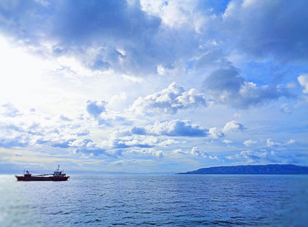 Beauty In Nature Cloud - Sky Day Horizon Over Water Mode Of Transport Nature Nautical Vessel No People Oil Pump Outdoors Rippled Sailing Scenics Sea Sky Tranquil Scene Tranquility Transportation Vessel Anchorage Vessel In Port Water Waterfront EyeEmNewHere