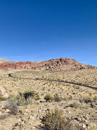Scenic view of road through desert against clear blue sky. red rock canyon, nevada