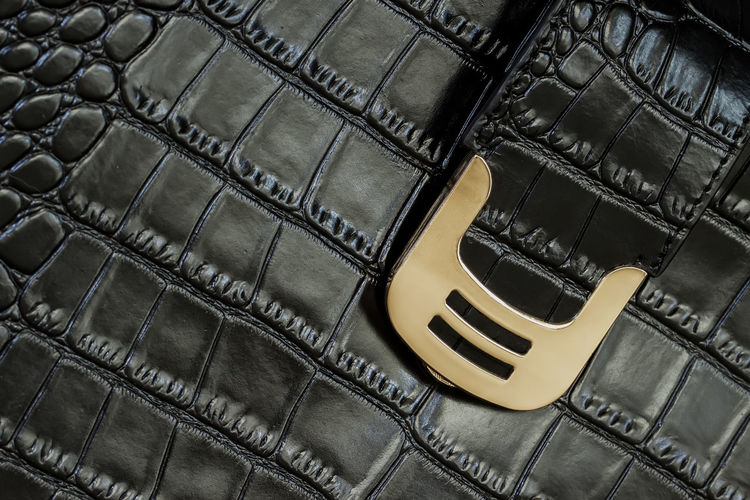 Texture of black handbag from genuine leather with embossed under skin of reptile, gold lock Close-up Leather No People Black Color High Angle View Handbag  Texture Accessories Textured  Background Genuine Leather Embossed Reptile Skin Metallic Golden Crocodile Surface Print Black