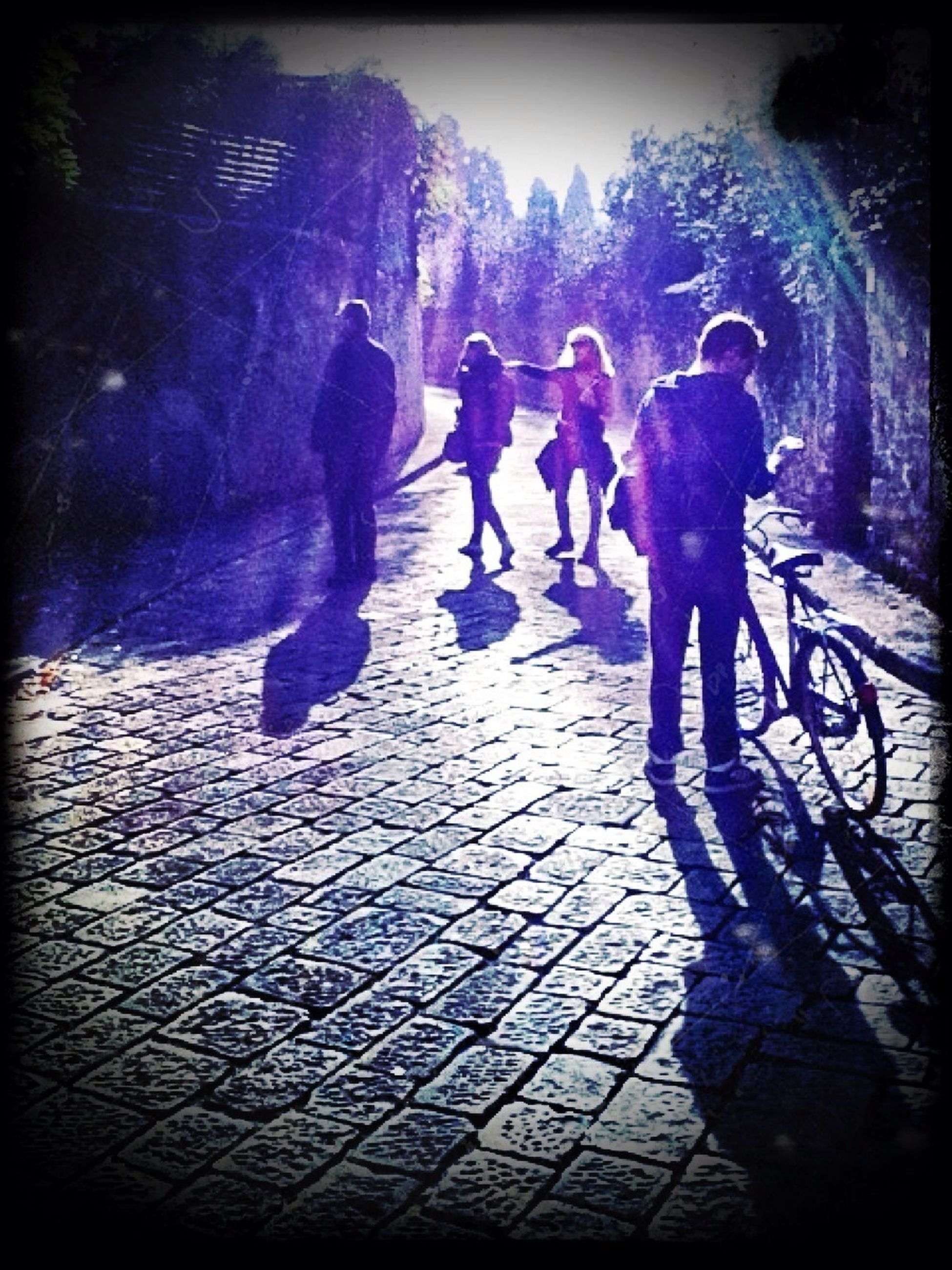 transfer print, lifestyles, men, walking, leisure activity, full length, auto post production filter, person, shadow, togetherness, sunlight, street, rear view, silhouette, medium group of people, outdoors, cobblestone