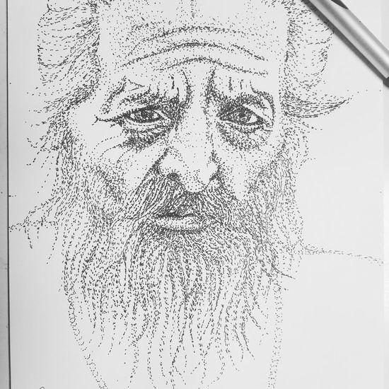 Ink Old Man Wrinkled Skin Stippling Unfinished
