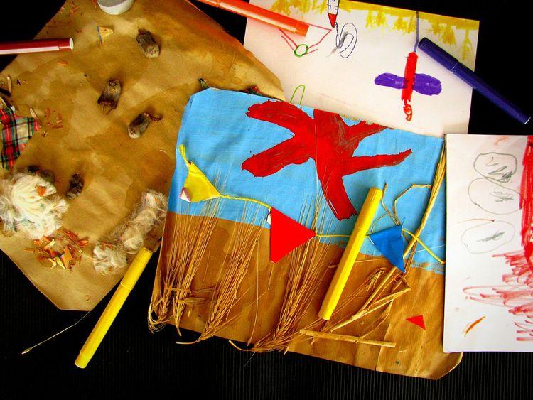 The Color Of School Multi Colored Creativity Blue Orange Color Yellow Back To School School Days Kindergarten Nursery School Drawings Child Drawing Vibrant Colors Pens Coloured Pens Markers  Craft Handicraft Brown Blues Fine Art School Life