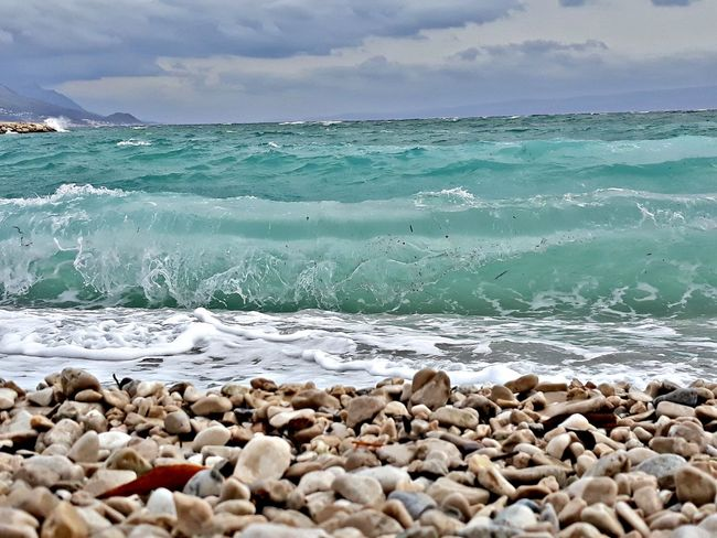 Split žnjan More Croatia Pease Beach Sea Water Horizon Over Water Cloud - Sky Sand Pebble Day Blue No People Nature Wave Beauty In Nature Sky Beauty Pebble Beach Outdoors Vacations