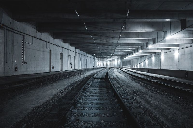 Clean Shadow Shadows & Lights Dark darkness and light Light Wide Angle Wide Nikonphotography Photooftheday Photography Rail Train Station Tunnel Tunnel Vision Rail Transportation The Way Forward Indoors  Railroad Track Transportation No People Illuminated Built Structure Architecture