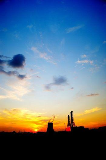 Outdoors Sunset Blue Sky Orange Color Architecture Dark Cloud - Sky No People Urban Skyline Toxic