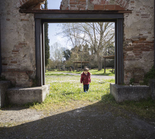 Leisure Activity Leisure Children Photography Innocence Childhood Children Child Children Only Door Abandoned Places Abandoned Buildings Abandoned Red Color Red Kid Preschooler