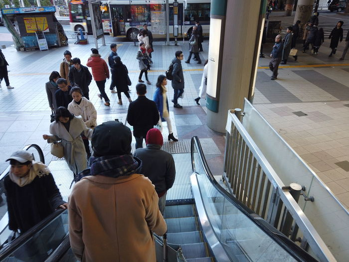 Streetphotography Urban Cityscape City People Urban Life Tokyo Japan Travel Escalator Stairs Group Of People Large Group Of People Real People Crowd Architecture Men Women Adult High Angle View City Life Transportation Railing Built Structure Walking Lifestyles Indoors  Day Waiting