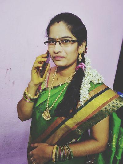 Portrait Beautiful Woman Multi Colored Sari Young Women Standing Eyeglasses  Studio Shot Bangle Looking At Camera