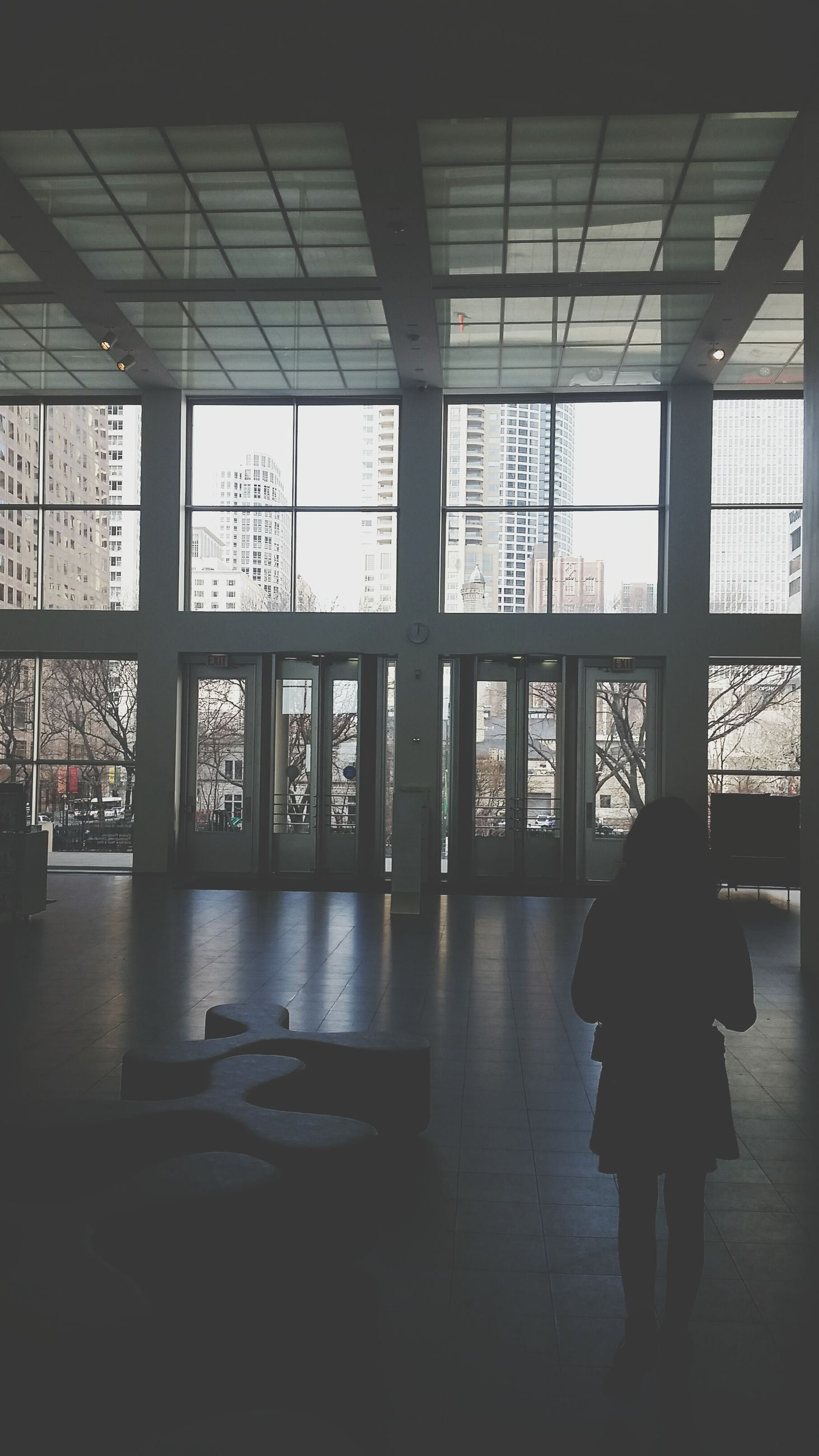 indoors, window, lifestyles, glass - material, men, architecture, built structure, full length, flooring, leisure activity, transparent, person, silhouette, ceiling, rear view, standing, walking, reflection