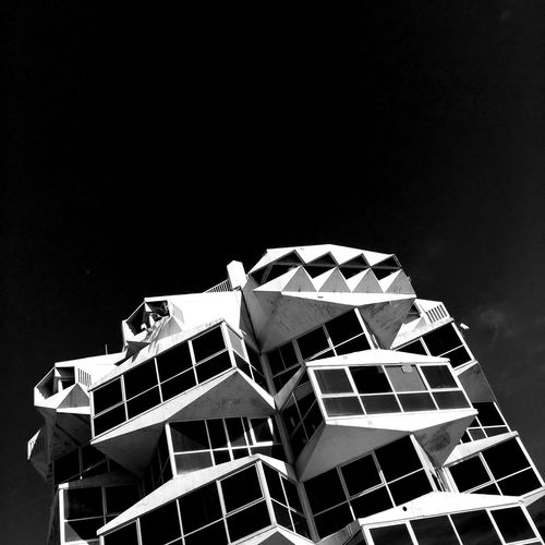 Building in black and white SPAIN Europe Contrast City Monochrome Black And White Black And White Architecture Low Angle View Sky Architecture Building Exterior Built Structure No People Copy Space Building Outdoors City Modern