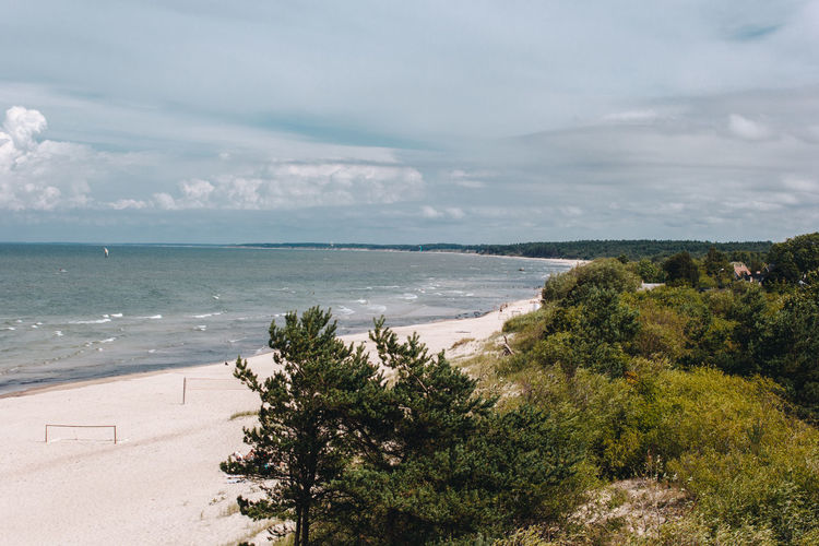 Latvia Latvija Pavilosta Beach Beauty In Nature Cloud - Sky Day Forest Growth Horizon Horizon Over Water Land Nature No People Outdoors Plant Scenics - Nature Sea Sky Tranquil Scene Tranquility Tree Water