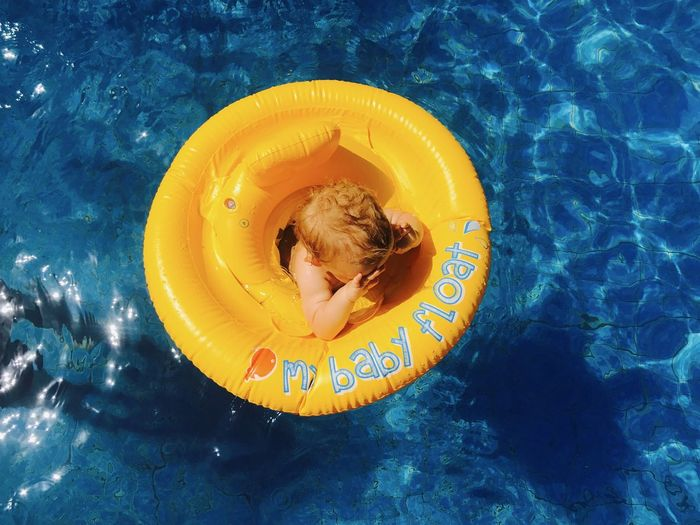 Baby Float Swimming Pool Water One Person Floating On Water Day Outdoors High Angle View Travelphotography Baby