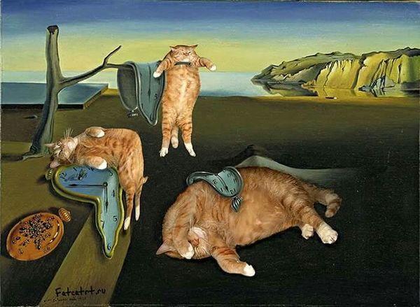 """Fat cat art"" by Russian artist Svetlana Petrova. You are a genius😻👏👏 Painting Art Fat Cat Salvadordali"