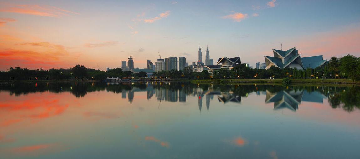 City skyline at sunset