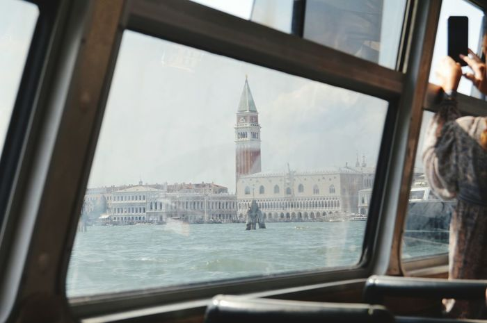 Venice, Italy Arriving Looking Through Window Famous Place Tower Window Doge's Palace Piazza San Marco Water Canal Vaporetto