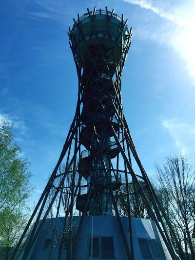 To the top of the Wine-arium tower Landmark Prekmurje Clear Sky Skies Wine Metal Construction Wine Tower Lendava Slovenia Sky Low Angle View Architecture Built Structure Metal Nature Tree Arts Culture And Entertainment Tower Blue Outdoors Day No People Cloud - Sky Tall - High