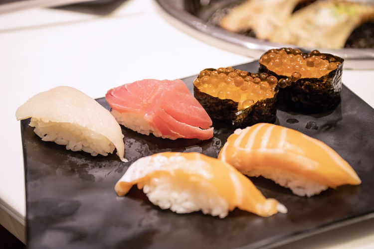 Asian Food Caviar Close-up Fish Food Food And Drink Japanese Food Plate Rice Seafood Sushi Tray
