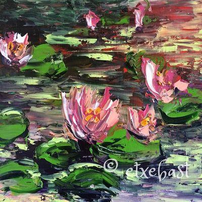 Right part. Sample. Canvas. Oil Painting . Le Bassin aux Nymphéas. Série 'Ponton' 2/3. Huile sur Toile. 90X30.