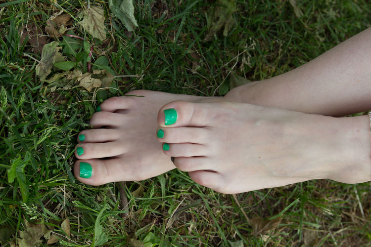 Low Section Of Woman With Painted Toenails On Field