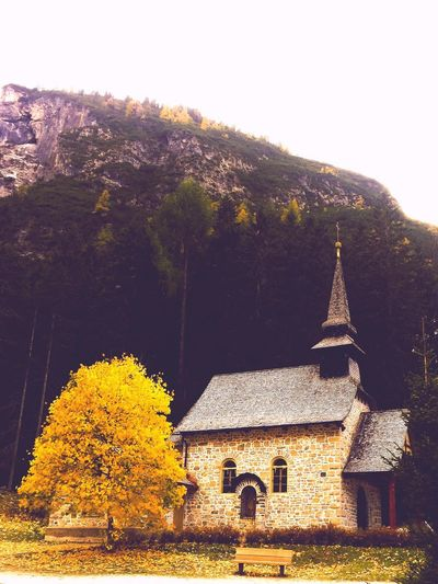 Built Structure Architecture Building Exterior Religion No People Tree Spirituality Nature Beauty In Nature Day History Outdoors Bell Tower Sky Mountain Church Church Architecture Yellow Autumn Autumn Colors Autumn Leaves Autumn🍁🍁🍁 Autunno 2017 Autumn 2017 Paceful