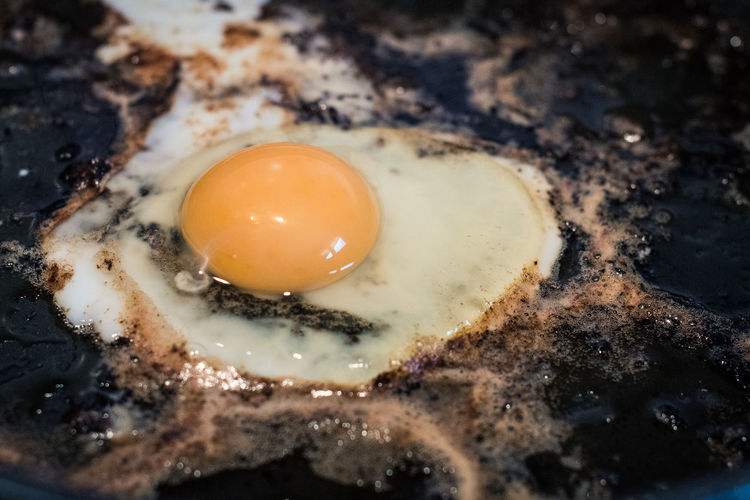 High Angle View Of Egg In Frying Pan