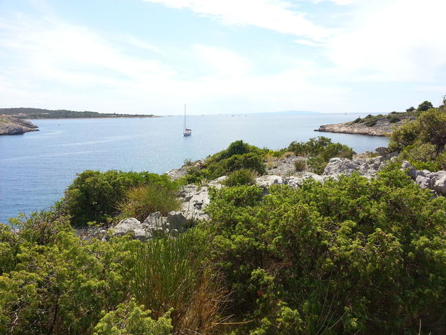 Beautiful bay near Trogir. Beauty In Nature Day Growth Heaven Nature Nautical Vessel No People Outdoors Plant Sailing Scenics Sea Sky Tranquil Scene Tranquility Transportation Tree Wacation Water