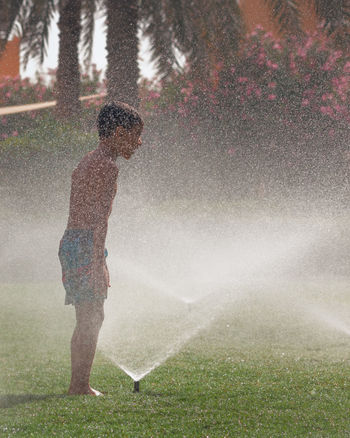 Boys Day Drop Full Length Fun Grass Irrigation Equipment Lawn Leisure Activity Lifestyles Motion Nature One Person Outdoors Real People Splashing Spraying Sprinkler Standing Tree Water Waterfall Wet
