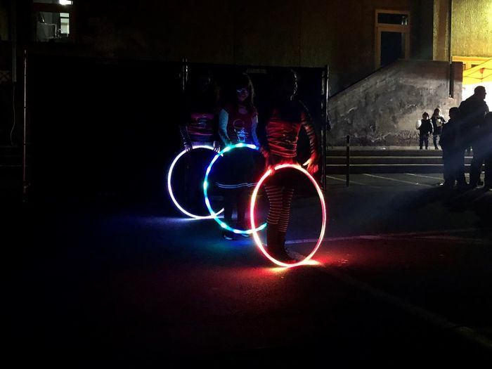 Light painting in city at night