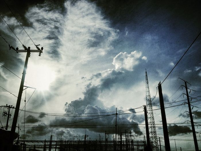 Cable Sky Cloud - Sky Electricity  Power Line  Technology Electricity Pylon Connection Power Supply Silhouette Low Angle View Fuel And Power Generation No People Nature Day Power Outdoors Communication Dusk Telephone Line Electrical Equipment Landscape Mexico Nature