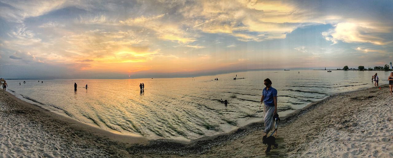 Beach walk Panoramic View Tranquil Scene Peaceful Evening Beach Life Waterfront Panoramic Photography Lake Ontario Port Dalhousie Beach Sky Sea Land Water Sand Cloud - Sky Beauty In Nature Real People Sunset Nature Leisure Activity Horizon Over Water Scenics - Nature Horizon Outdoors