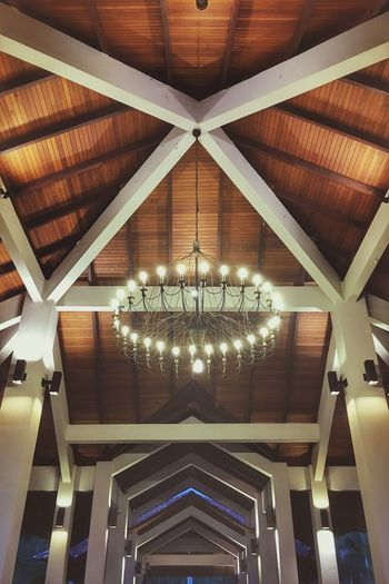Ceiling Indoors  Low Angle View Lighting Equipment Illuminated Architecture Architectural Feature No People Roof Beam Pattern Built Structure Hanging Wood - Material Architectural Design Luxury Modern Day Hotel Lobby Swiss Garden Hotel Lumut, Malaysia