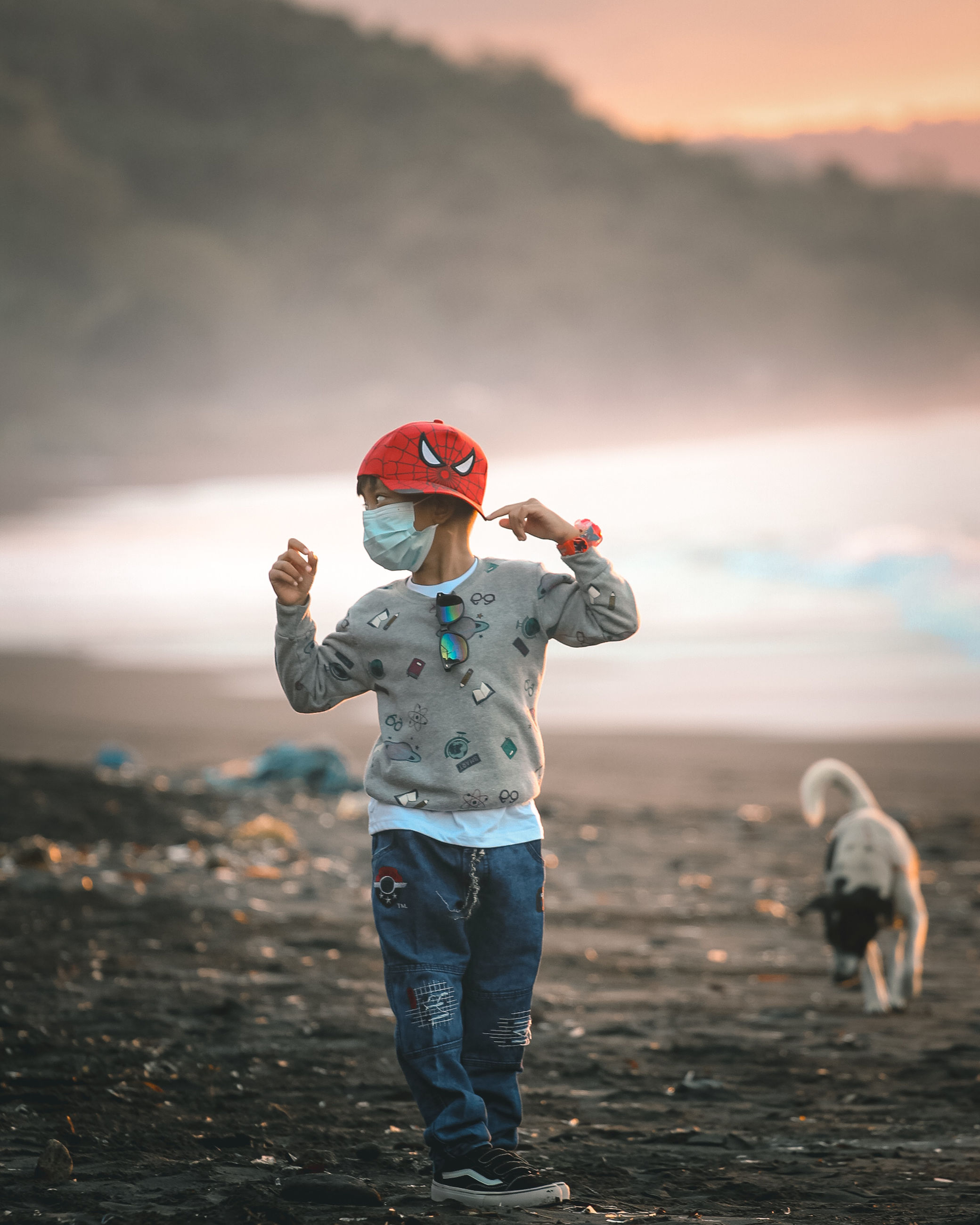 childhood, child, animal, animal themes, full length, men, one animal, sky, dog, one person, nature, mammal, domestic animals, land, sea, emotion, standing, clothing, person, canine, toddler, blue, pet, happiness, fun, cloud, cute, sunset, outdoors, beach, landscape, smiling, casual clothing, holding, adult, lap dog, positive emotion, front view
