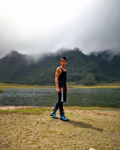 One Man Only Adults Only Only Men Adult One Person Fog Sportsman Sports Clothing Lake Sunglasses Mountain Sport People Exercising Outdoors Full Length Healthy Lifestyle Standing One Young Man Only Day