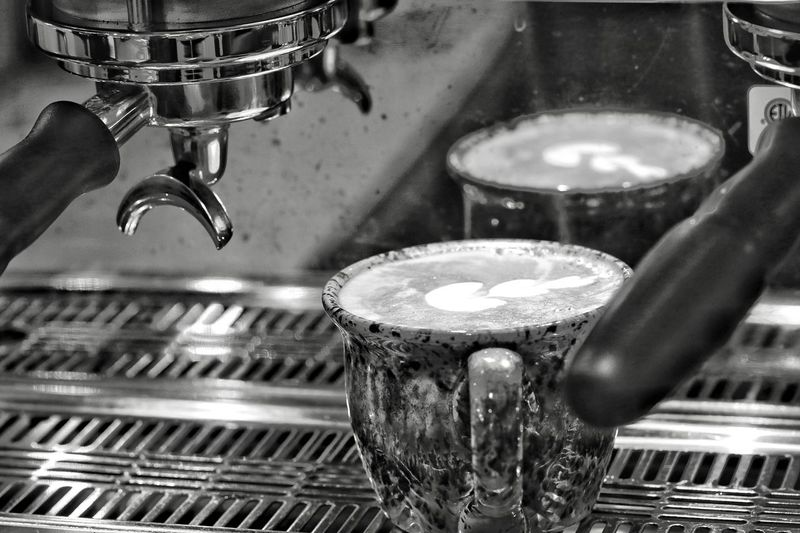 Barista's Art. Indoors  Metal Close-up Music No People Illuminated Musical Instrument Day Selective Focus JGLowe Food And Drink Barista Cafe Coffee Cup Appliance Coffee - Drink Espresso Maker